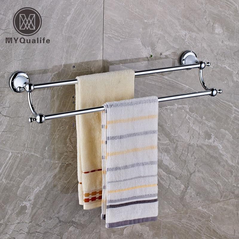 Chrome Brass 60cm Long Towel Bar Wall Mounted Bathroom Bath Towel Rack okaros bathroom double towel bar 60cm towel rack towel holder solid brass golden chrome plating bathroom accessories