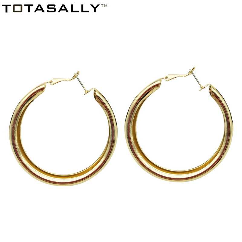 TOTASALLY  Flat Gold /Silver Color Thick Circle Hoop Earrings Women  Metal Concave Groove Round Earrings Minimalist Jewelry