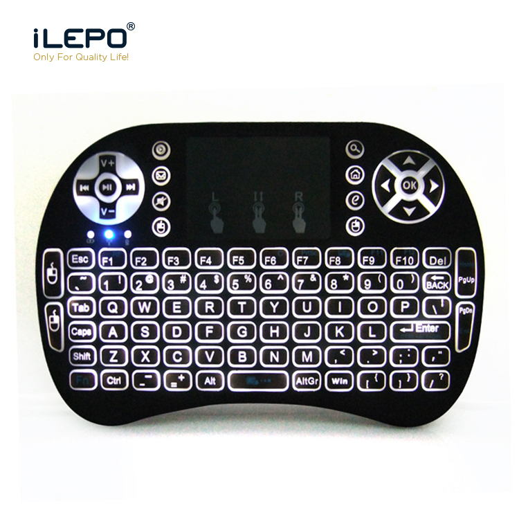 iLEPO Backlit <font><b>Keyboard</b></font> <font><b>2.4GHz</b></font> <font><b>Wireless</b></font> Air Mouse RU&EN Version Mini Touchpad Handheld for Android TV Smart Box PC Notebook image
