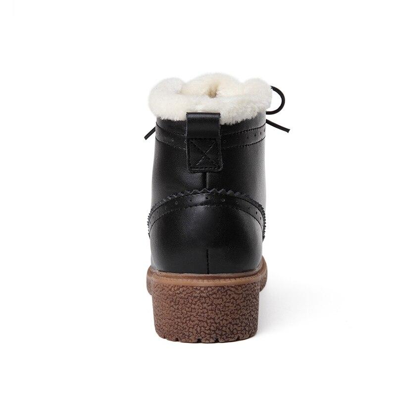 Zapatos Invierno Botas Marca Genuino Negro De Con Mujeres Hovinge Botines Felpa Cuero marrón Plataforma La FwqBZnE