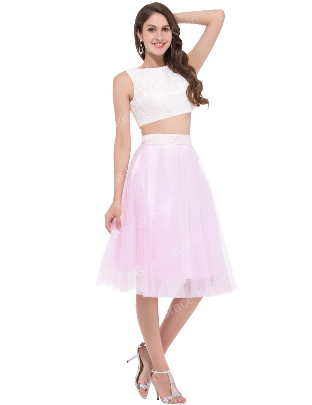 Gracia Karin 2 dos piezas Vestidos de baile sexy Pink Encaje satén ...