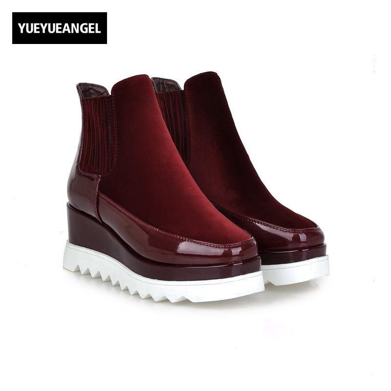 Comfort Antiskid Wedge High Heel Ankle Boots Faux Suede Patent Leather Patchwork Lining Womens Shoes Slip On Snow Boots nayiduyun women genuine leather wedge high heel pumps platform creepers round toe slip on casual shoes boots wedge sneakers