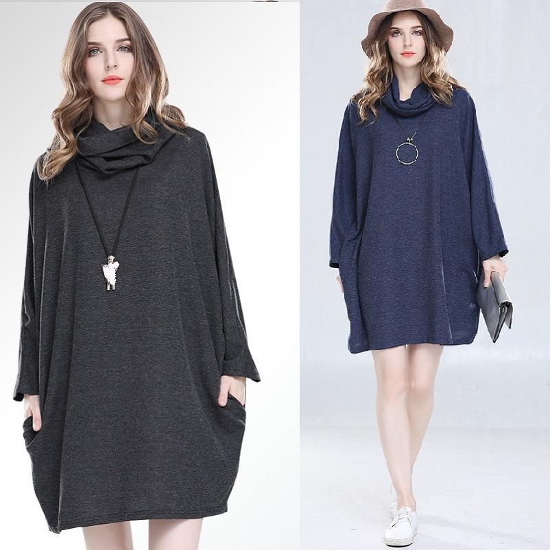 Nouveau 2018 printemps mode dames lâche robe batwings manches col roulé streetwear grande taille décontracté vestidos tuniques femme tenue