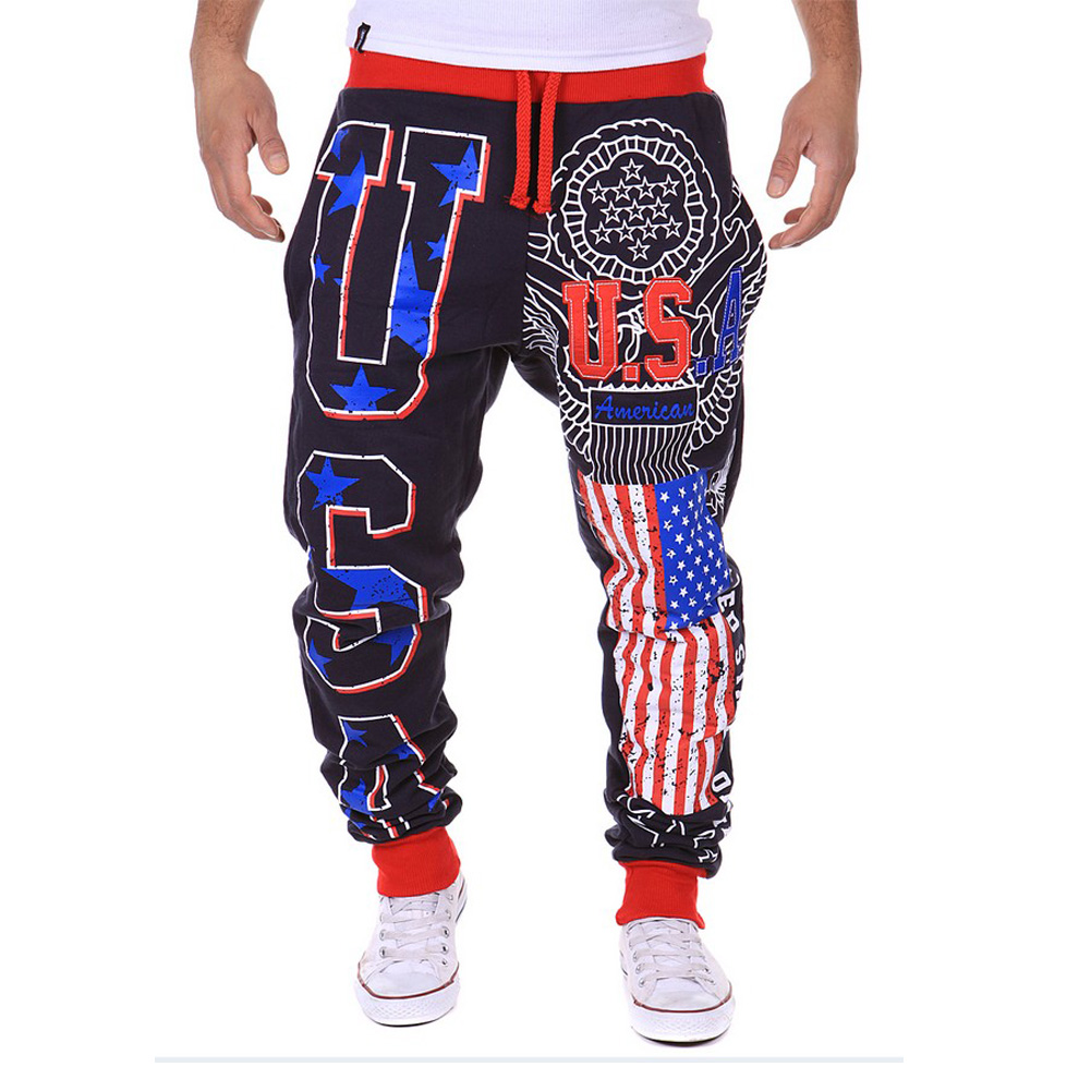Hot Sell Classics Fashion Men's Casual pants American Flag USA Printed letters Design Harem Pants Full Length LB