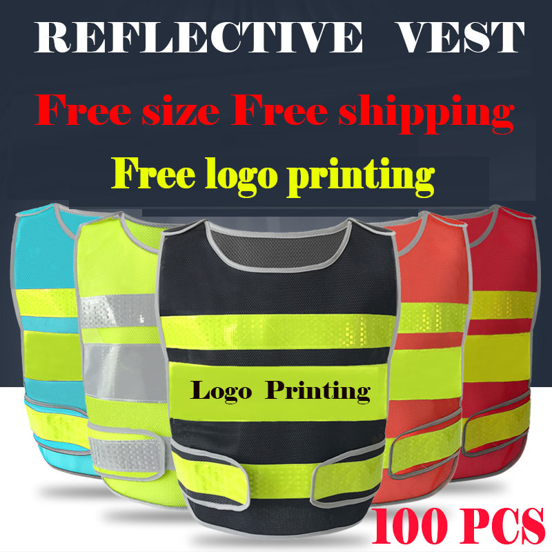 Spardwear A Carton Of 100pcs Customizable Reflective Mesh Vest Free Logo Printing Waistcoat With Reflective Crystal Lattice Workplace Safety Supplies Security & Protection