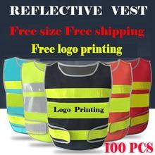 SPARDWEAR a carton of 100pcs customizable reflective mesh vest free logo printing  waistcoat with reflective crystal lattice