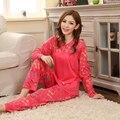 Бабочка 2016 Новый Красный Стиль Пижамы Хлопок Полный Милый Autumm Весна Пижамы Женщин, Пижамы, Пижамы Для Женщин, пижамы Femme