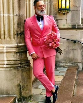 Classic Style Double Breasted Hot Pink Groom Tuxedos Peak Lapel Groomsmen Men Blazers Suits (Jacket+Pants+Tie) NO:481