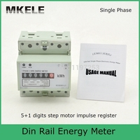 Digits Step Motor Impulse Register MK LEM011AG Single Phase Din Rail Energy Power Electricity Meter Digital