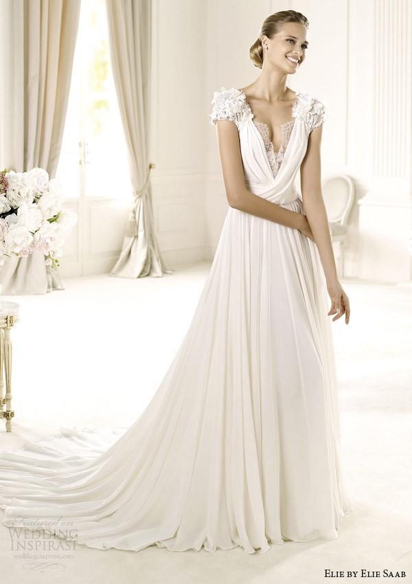 Vintage Wedding Dresses Cap Sleeve V Neck Open Back Draped Chiffon ... d2c31bc92608