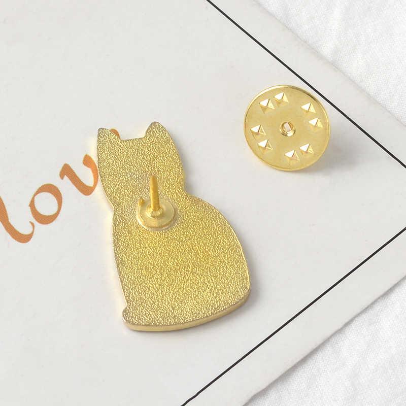 Kucing Hitam Enamel Bros Tombol Pins untuk Tas Pakaian Mohon Mengadopsi Lencana Kartun Hewan Perhiasan Hadiah untuk Teman-teman