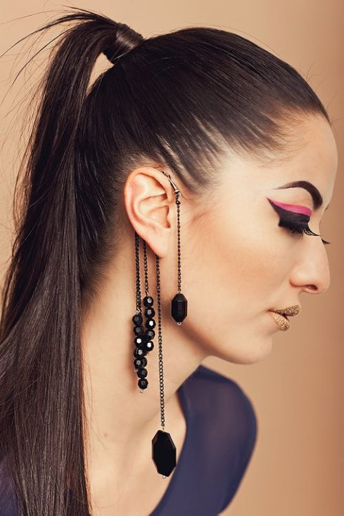 New Design Cool Rock Punk Exquisite Black Acrylic Beads Long Tels Chain Hanging Ear Cuff Wrap Dangle Clip Jewelry In Earrings From