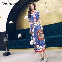 Delocah Women Spring Summer Set Runway Fashion Designer Half Sleeve Gorgeous Beading Vintage Printed Slim Skirt Two Pieces