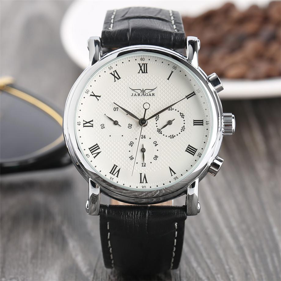 JARAGAR black genuine leather band mechanical watch men20