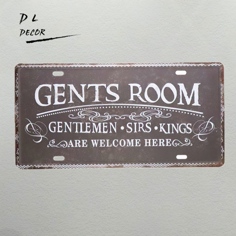 DL-Gents room vintage License plate neon sign crafts home decoration accessories