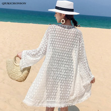 Women Long Summer Cardigan Lace Top Ladies Seven Sleeve Hollow Out Crochet Lace Polka Dot Blouse Sun-proof Bohemian Beach Kimono hollow out contrast crochet lace top