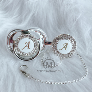 Image 2 - MIYOCAR Gold silver name Initials letter A beautiful bling pacifier and pacifier clip BPA free dummy bling unique design LAS 8/9
