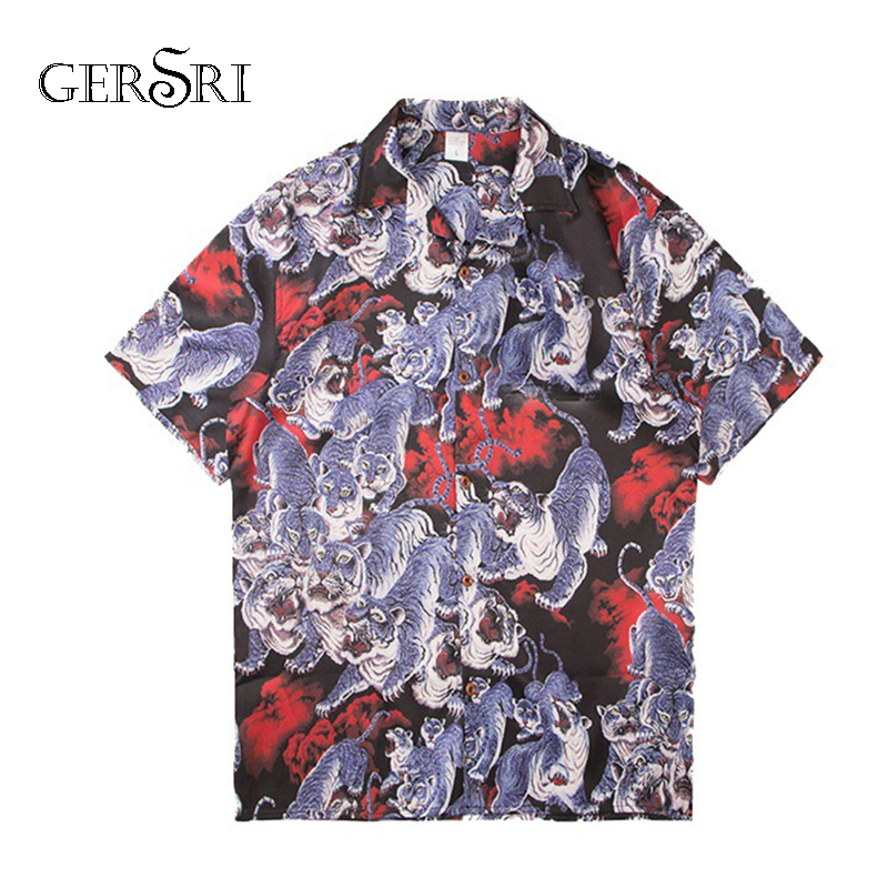 Gersri Mens Summer Beach Hawaiian Shirt 2019 Short Sleeve Plus Size Print Shirts Men Casual Holiday Vacation Clothing Streetwear