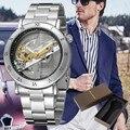 FORSINING  модные роскошные мужские часы  полый механизм  деловой браслет  застежка  ремень из нержавеющей стали  мужские часы  механические часы