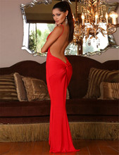 1038 New Arrivals Robe Sexy Deep V Neck and Backless Sexy Dresses Sleeveless Erotic Mermaid Club Dresses 2016