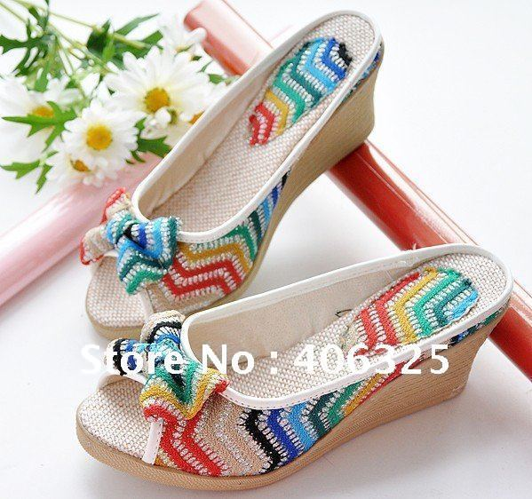 2012 New arrivals Free shipping fashion  lady hihg Heels Peep-toe  sandals shoes ethnologic style  Fashion hot selling