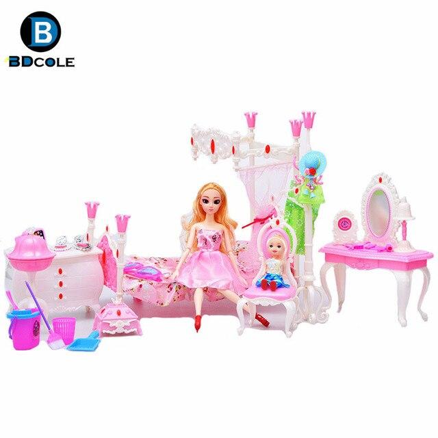 Jimusuhutu 10 Item Banyak Gaya Eropa Baru Rumah Boneka Furnitur Kamar Tidur  Mainan untuk Barbie 97b6d937fb