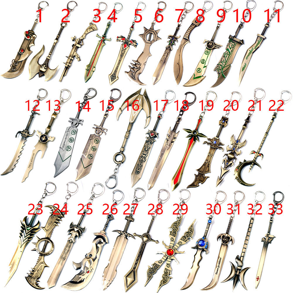 52-58 (58 Style) 12cm Lol Sinister Blade Weapon Keychain,gift For Lol Fans Scorn Of The Moon Diana Keychain Accept Drop Shipping