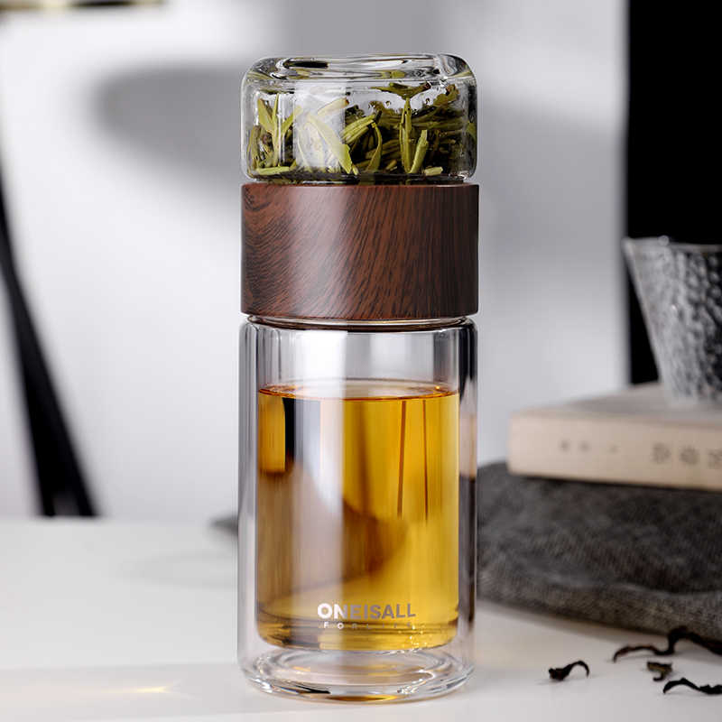 Garrafa de vidro de separação de água, garrafa de vidro de parede dupla para chá e água, garrafa de vidro criativo my garrafa de água 380ml 220ml 200ml