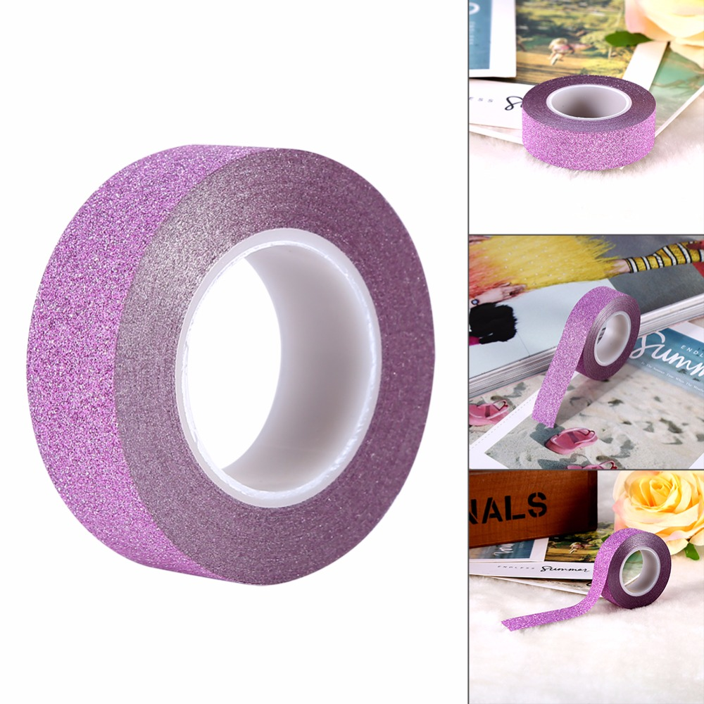 How to scrapbook with glitter - Fashion Colorful Scrapbooking Craft Glitter Tape Book Cellphone Decor Diy Adhesive Paper Sticker 10m