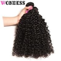 Wondess Hair Curly Human Hair Bundles Virgin Indian Hair 3 Bundle Deals 8inch to 26inch Natural Color Hair Extensions Free Ship
