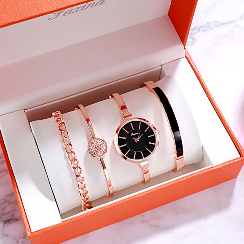 5 PCS Set Watch Women Rose Gold Diamond Bracelet Watch 2019 Luxury Jewelry Ladies Female Girl Hour Casual Quartz Wristwatches
