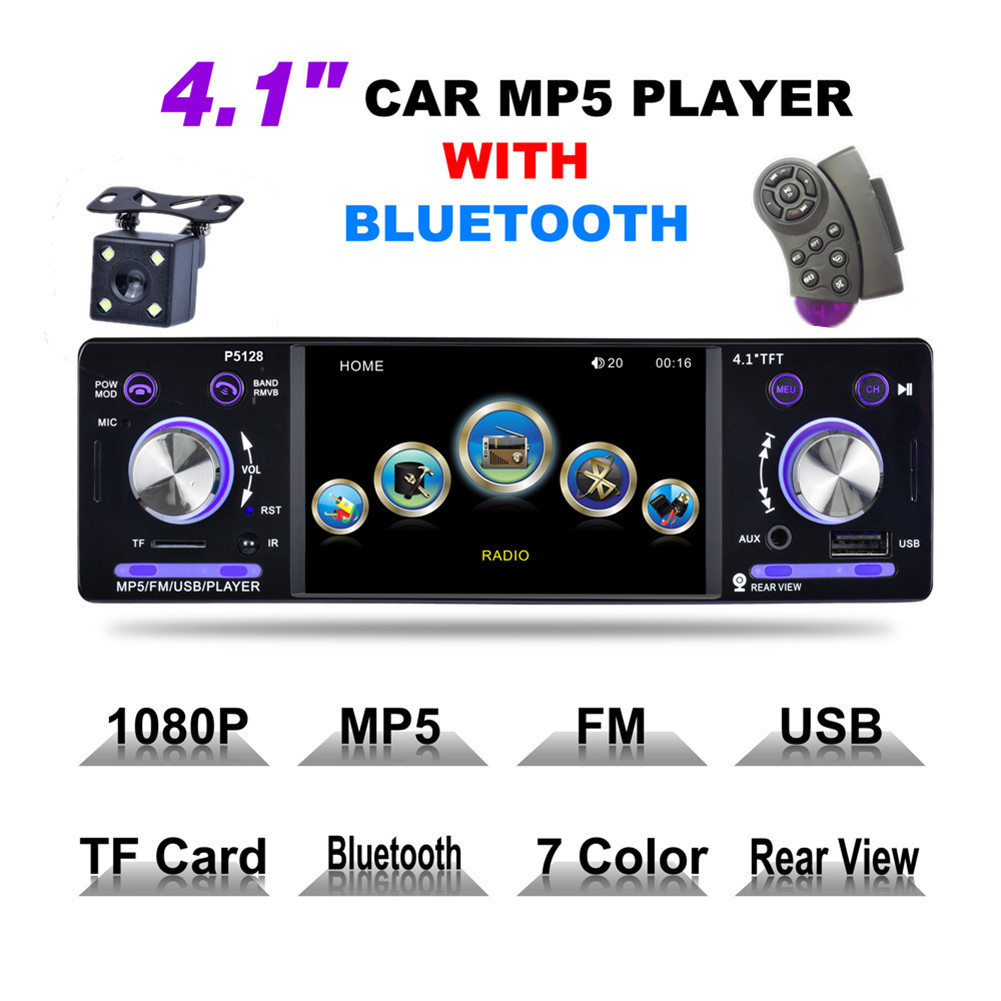 Car Stereo Autoradio MP3 MP5 Audio Player 4.1 Inch 1 Din HD Bluetooth Support USB FM TF AUX + Backup Reverse Rearview Camera