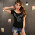 Clearance Sale Summer Manural Drill Rabbit Tops Ladies' Fashion T-shirt Casual Women's Cotton Bottoming Tees Free Shipping SY350