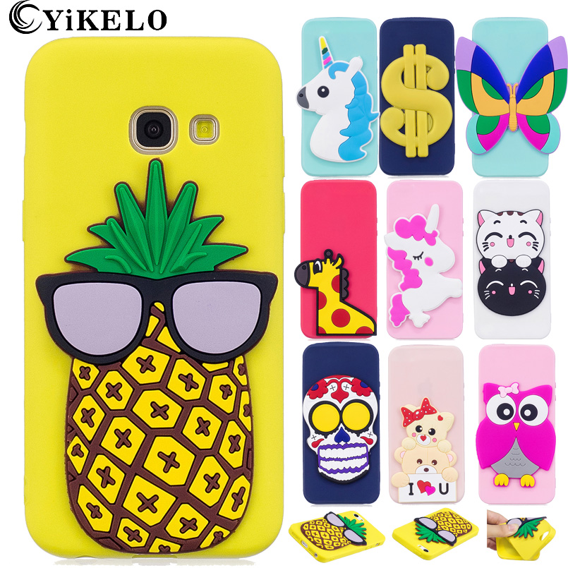Galleria fotografica YiKELO Case for Samsung Galaxy A520 A5 2017 Lovely 3D Silicone Cartoon Cute Cat Butterfly Giraffe Unicorn Soft TPU Phone Cover