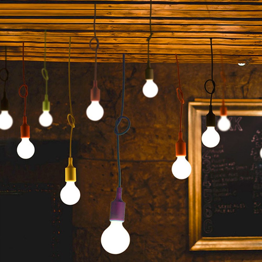 Hot DIY E27 Chandelier Light Fixture Hanging Line Colorful Silicone Rubber Ceiling Vintage Pendant Lamp Holder E27 Lamp Socket