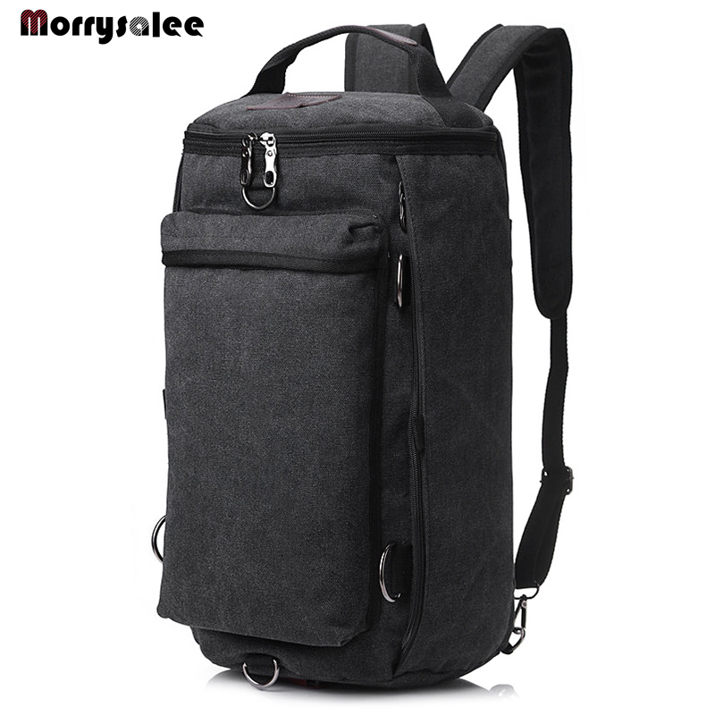 New multi functional shoulder bag men and women travel double computer backpack canvas bag male bag