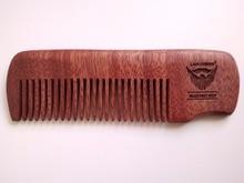 Kézzel készített vörös fésű finom fogú kardos szakálla / fésűkagyló férfiak részére 10cm-es (4,1 cm-es) zsebméret
