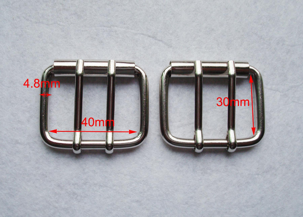 "1-9/16""(40MM)DIY Leathercraft Hardware Double Pins Belt Buckle Roller silver Plated,bag buckle,garment accessories,bag fasteners"
