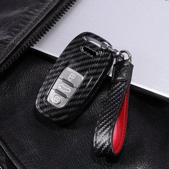 Funda protectora completa de fibra de carbono para Audi A4 S4 B7 B8 A6 A5 A7 A8 Q5 S5 S6 Q7 accesorios de coche llave inteligente
