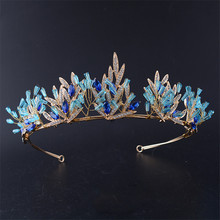 Snuoy Blue Stone Zircon Floristic Crystal Tiaras Crowns Coroa de Noiva Hair Jewelry Leaf  Rhinestone Headbands For Bridal HG712