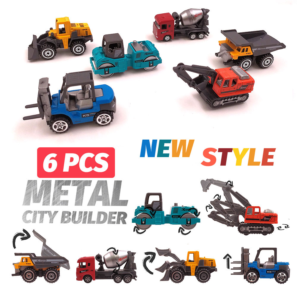 Diecast Toy Vehicles, 6 Pcs Construction Vehicles Toys Car Alloy Truck Toy Metal Cars Toys 1:64 Diecast Cars Toy For Boys Kids