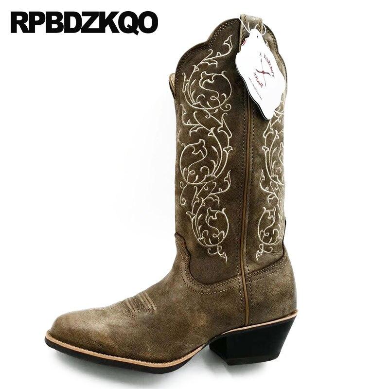 полусапожки высокое качество ковбойские сапоги мужская натуральная кожа острый носок пастушка коренастый вышитый обувь вестерн высокие П