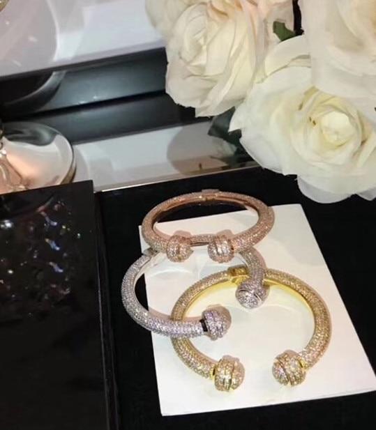 ZOZIRI fashion luxury brand replica jewelry full of zircon round ball bangle rotate cuff bracelet party jewelry bowknot double ball end bangle cuff bracelet