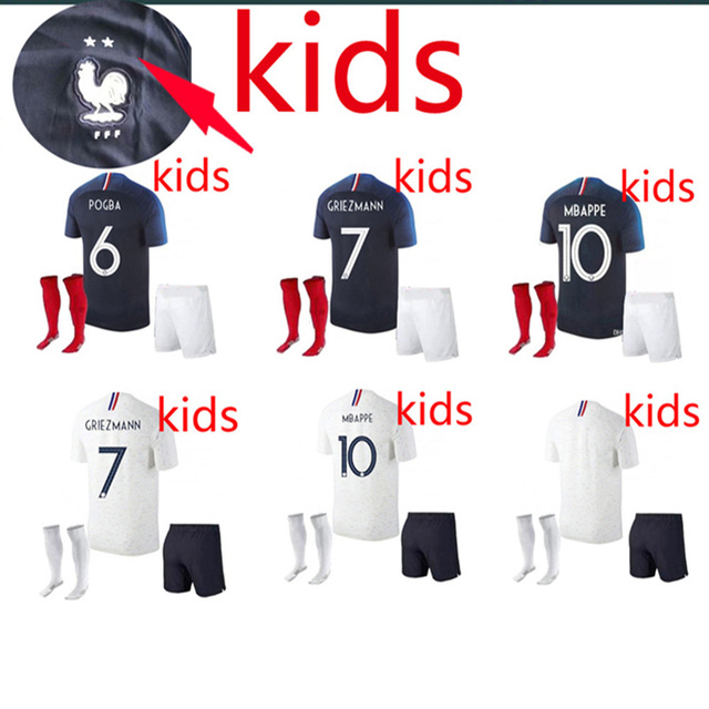 f08cec5d1 2 stars kids 2018 Franceing World Cup Soccer Jerseys MBAPPE GRIEZMANN POGBA  18 19 de foot football child Shirts Best Quality