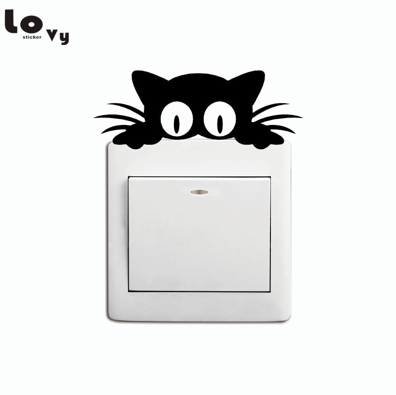Cat Head Light Switch Sticker Funny Cartoon Animal Vinyl Wall Stickers For Kids Room Home Decor