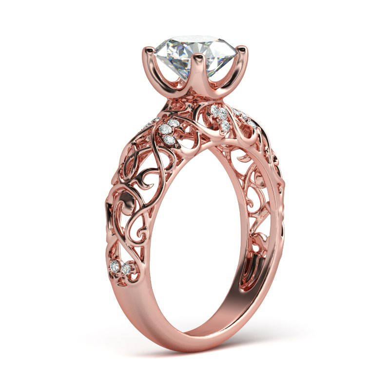 Hutang Rose Gold Vintage Wedding Ring 3.68Ct Simulated Diamond CZ 925 Sterling Silver Filigree Engagement Jewelry Women Bridal