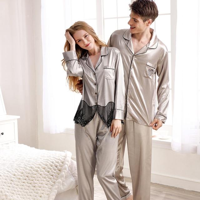 XIFENNI Brand Couple Pajamas Sexy Silk Pajama Sets Fashion Grey Two-Piece Women  Sleepwear Embroidery Men Pyjama Lounge Set d63c45f10