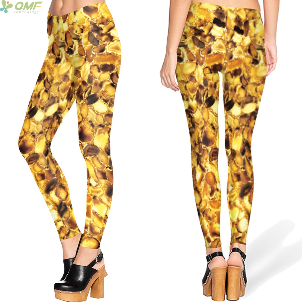 b2df8e7f7b1cfe Multi Gold Coin Pattern Leggings Fashion Skinny Pencil Trouser Bodycon  Harajuku Punk Women Pants Halloween Gothic Legging Golden