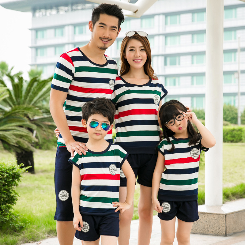 Summer Family Matching Outfits Short Sleeved Cotton