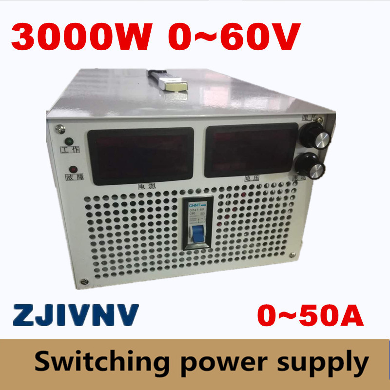 big power 3000W 0-60v 0-50A current&voltage both adjustable Switching power supply AC-DC For industry led light Laboratory test